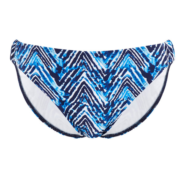 Cleo-Swimwear-Suki-Indigo-Blue-White-Gathered-Bikini-Brief-Pant-CW0206-Front