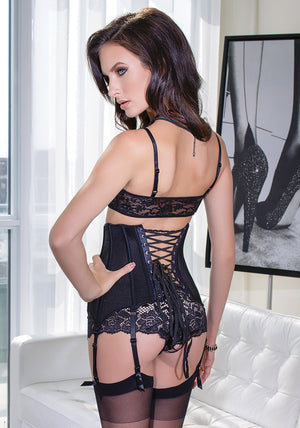 Coquette-Lingerie-Black-Zippered-Waist-Cincher-CQ3729-Back