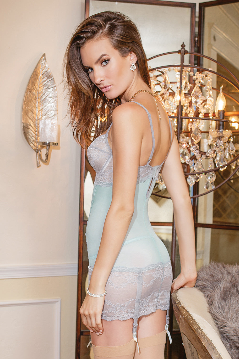 526043b8fd Coquette Misty Blue Grey Underwired Chemise - 7053 - PoinsettiaStyle ...