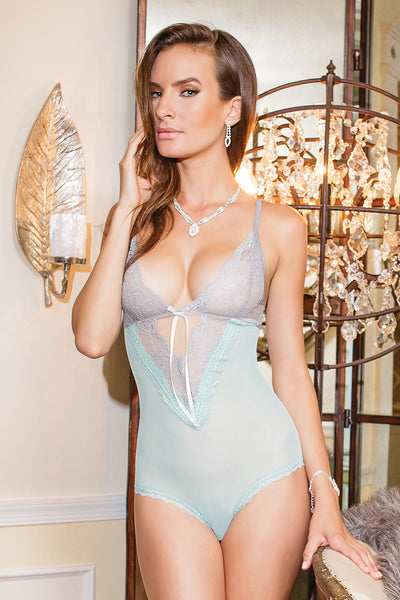 Coquette-Lingerie-Blue-Grey-Crotchless-Teddy-7054-Front