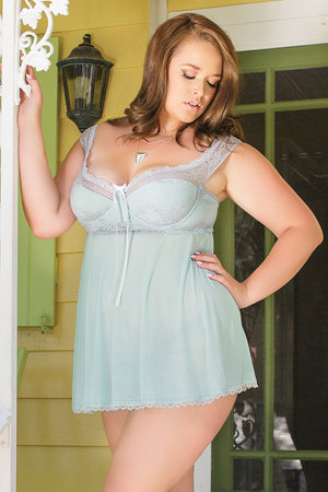Coquette-Lingerie-Blue-Grey-Off-Shoulder-Babydoll-Plus-Size-7052X-Front