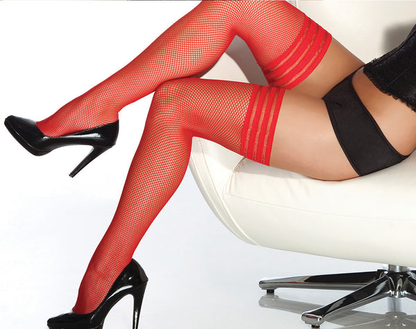 Coquette-Lingerie-Elastic-Top-Fishnet-Stockings-Red-CQ1733