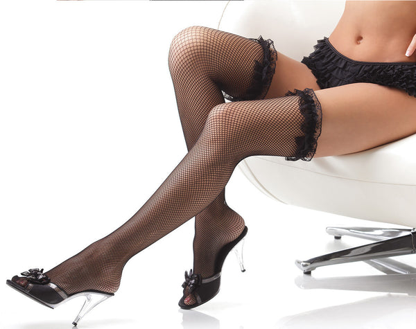 Coquette-Lingerie-Ruffled-Lace-Fishnet-Stockings-Black-CQ1786
