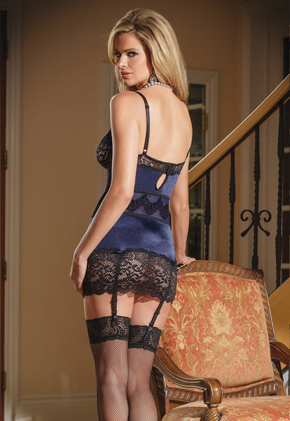 Coquette-Lingerie-Stretch-Lace-Chemise-Blue-CQ1378-Back