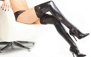 Coquette-Lingerie-Wet-Look-Stay-Up-Thigh-Highs-Black-CQD1729