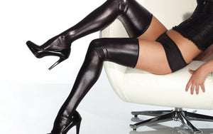 Coquette-Lingerie-Wet-Look-Thigh-Highs-Black-CQD1728