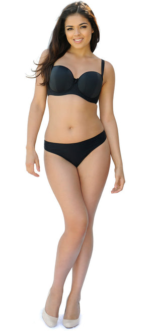 Curvy-Kate-Luxe-Black-Strapless-Multiway-Bra-Straps-CK2601-Thong-CK2602-Front