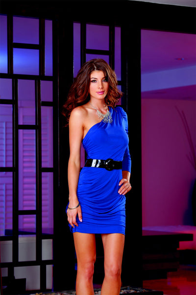 Dreamgirl-One-Shoulder-Dress-Blue-Front