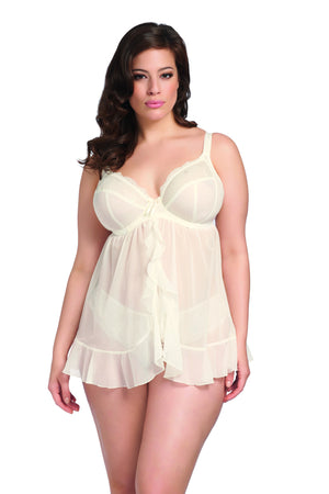 Elomi-Lingerie-Maria-Underwired-Babydoll-Cream-8501-Thong-8507-Front