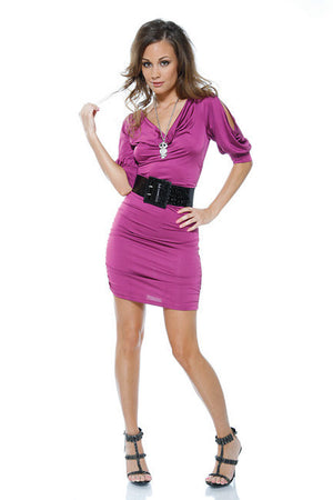 Cut-Out-Shoulder-Purple-Mini-Dress-Front