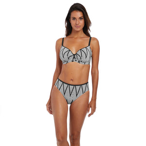 Fantasie-Swim-Geneva-Black-White-Full-Cup-Bikini-Top-FS6590BLI-Mid-Rise-Brief-FS6595BLI-Front