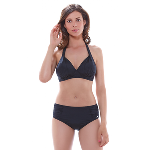 Fantasie-Swimwear-Los-Cabos-Black-Triangle-Bikini-Top-FS6153BLK-Deep-Gathered-Brief-Pant-FS6156BLK-Front