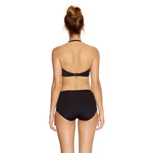 Fantasie-Swimwear-Versailles-Black-Bandeau-Bikini-Top-Halter-FS5750BLK-Gathered-Control-Short-FS5753BLK-Back