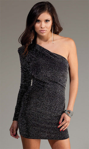 Forplay-One-Sleeve-Black-Shimmer-Mini-Dress-Front