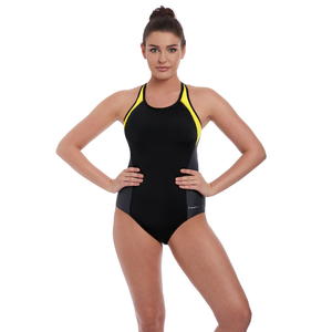 ba1c89d6ee Freestyle Black Yellow One Piece Athletic Swimsuit - Freya Active