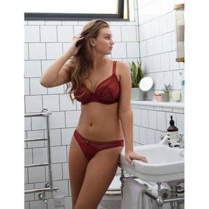 Freya-Lingerie-Expression-Ruby-Red-Plunge-Bra-AA5491RUY-Brazilian-Brief-AA5497RUY-Lifestyle