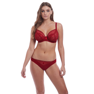 Freya-Lingerie-Expression-Ruby-Red-Plunge-Bra-AA5491RUY-Brief-AA5495RUY-Front