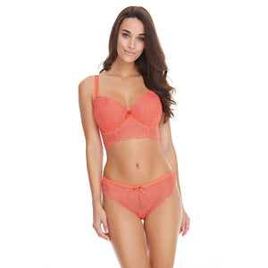 Freya-Lingerie-Fancies-Hot-Coral-Longline-Bra-AA1014HOL-Brazilian-Brief-AA1017HOL-Front