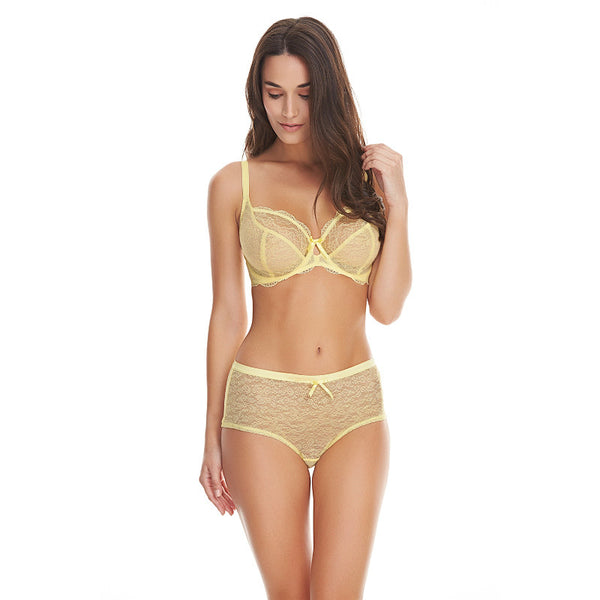Freya-Lingerie-Fancies-Lemon-Yellow-Sorbet-Plunge-Bra-AA1011LEE-Short-AA1015LEE-Front