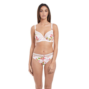 Freya-Lingerie-Rose-Tapestry-White-Side-Support-K-Cup-Bra-AA3652WHE-Thong-AA3657WHE-Front