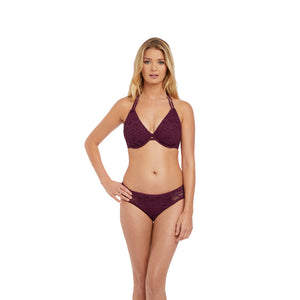 Freya-Swim-Sundance-Black-Cherry-Halter-Bikini-Top-AS3971BCH-Hipster-Brief-AS3976BCH-Front