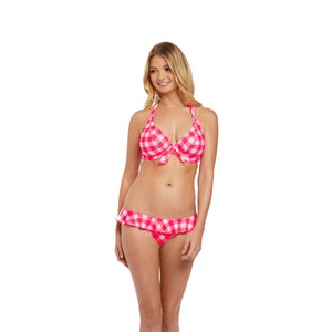 Freya-Swim-Totally-Check-Tropical-Punch-Red-Halter-Bikini-Top-AS2924TRP-Frill-Brief-AS2927TRP-Front