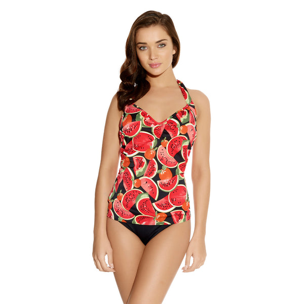 Freya-Swimwear-Watermelon-Coral-Halter-Tankini-Top-AS2309COL-Classic-Fold-Brief-AS3230COL-Front