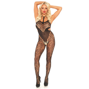 Leg-Avenue-Black-Cut-Out-Side-Floral-Lace-Bodystocking-89235-Front