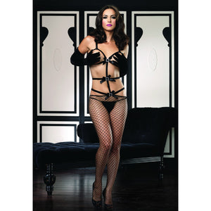 Leg-Avenue-Black-Elastic-Band-Buckle-Accent-Bodystocking-89055-Front