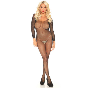Leg-Avenue-Black-Sparkly-Long-Sleeve-Bodystocking-89233-Front