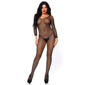 Leg-Avenue-Lycra-Ring-Hole-Long-Sleeve-Black-Bodystocking-8748-Front