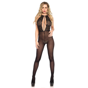 Leg-Avenue-Opaque-Low-Back-Black-Bodystocking-89207-Front