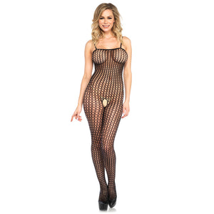 Leg-Avenue-Seamless-Crochet-Net-Black-Bodystocking-8300-Front
