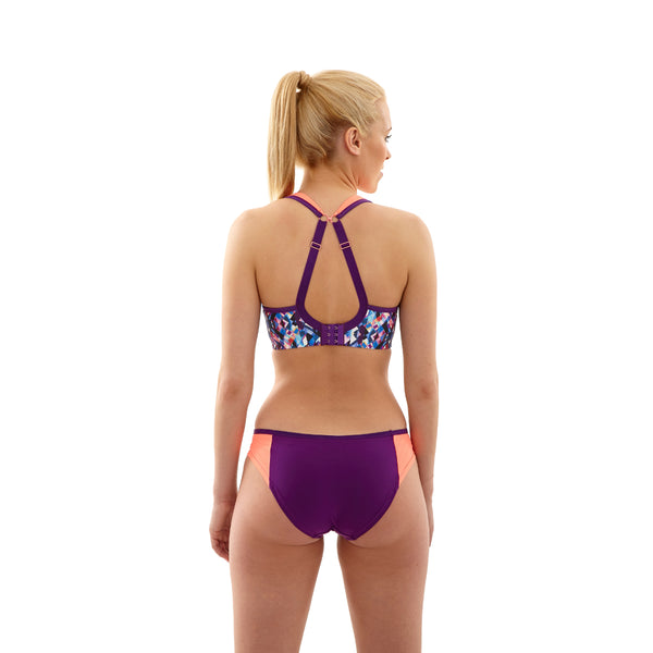 Panache-Kaleidoscope-Purple-Coral-Print-Sports-Bra-Wired-Racerback-5021-Brief-7342-Back