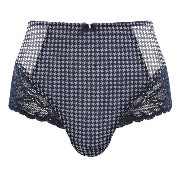 Panache-Lingerie-Jasmine-Dogtooth-Blue-Deep-Brief-6954-Front