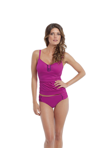 Panache-Swim-Veronica-Balconette-Tankini-Swimsuit-Magenta-SW0641-Gathered-Bikini-Brief-SW0649