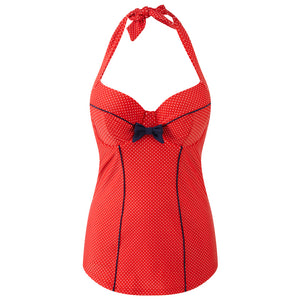 Panache-Swimwear-Britt-Red-Navy-Halterneck-One-Piece-Swimsuit-Zoom-SW0820-Front