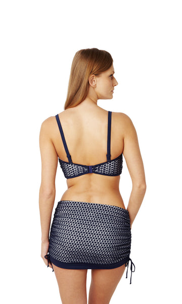 Panache-Swimwear-Eadie-Navy-White-Bandeau-Bikini-Top-Straps-SW0863-Skirted-Swim-Brief-SW0868-Back