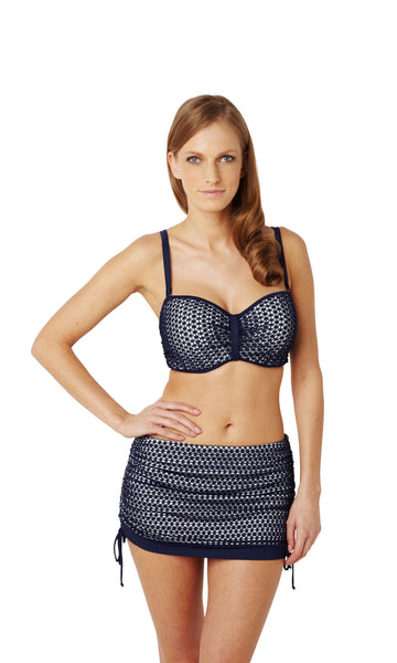 Panache-Swimwear-Eadie-Navy-White-Bandeau-Bikini-Top-Straps-SW0863-Skirted-Swim-Brief-SW0868-Front