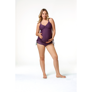 Rosewater-Cake-Shake-Purple-Maternity-Nursing-Tankini-Swimsuit-Set-Front