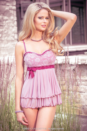 Coquette Lingerie Dusty Rose Lace Babydoll CQS4010 Front