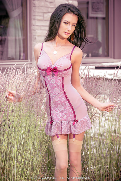 Dusty Rose Chemise & Garters - Coquette