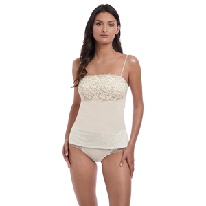 Wacoal-Lingerie-Lace-Essential-Cream-Powder-Camisole-Straps-WE136009CRR-Short-WE136006CRR-Front
