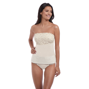 Wacoal-Lingerie-Lace-Essential-Cream-Powder-Camisole-WE136009CRR-Short-WE136006CRR-Front
