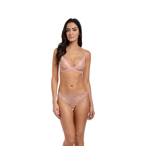 Wacoal-Lingerie-Lace-Perfection-Rose-Mist-Pink-Push-Up-Bra-WE135003RMT-Tanga-Brief-WE135007RMT-Front