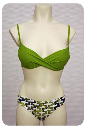 Green Bikini Top & Swim Brief - Front