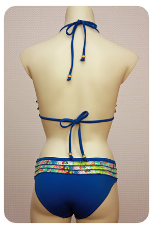 Navy Blue Ruffle Detailed Bikini Top & Brief - Back