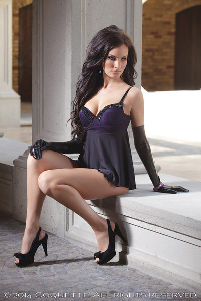 Coquette-Lingerie-Studded-Babydoll-Purple-Black-CQ1079-Side