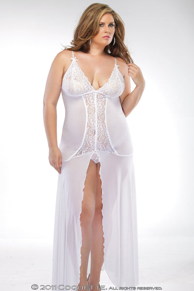 Coquette Lingerie Floor Length Night Gown White Plus Size CQ1680 Front