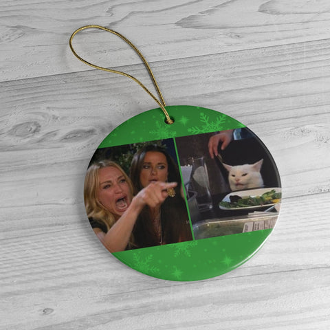 Woman Yelling at Cat Ceramic Christmeme Ornaments